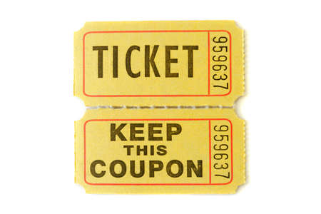 Raffle Ticket with stub isolated on pure white background photo