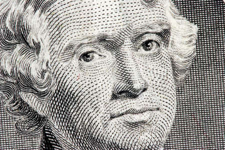 Thomas Jefferson close up from one dollar bill