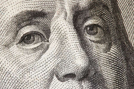 benjamin franklin: Benjamin Franklin close-up from $100 dollar bill Stock Photo