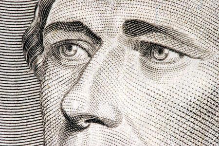 Secretary of the Treasury Alexander Hamilton close up from 10 dollar bill