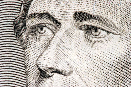 alexander hamilton: Segretario del Tesoro Alexander Hamilton vicino da 10 dollari di legge