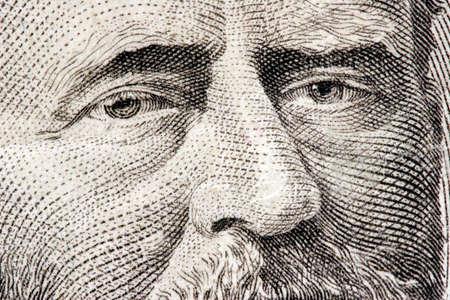 50 dollar bill: President Ulysses S. Grant close up from 50 dollar bill Stock Photo