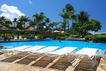 Swimming pool in a tropical resort Stok Fotoğraf