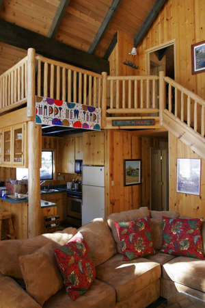 Inside a beautiful wooden house in a ski resort photo