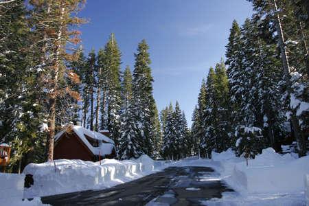 sierras: Snow road in the Sierras