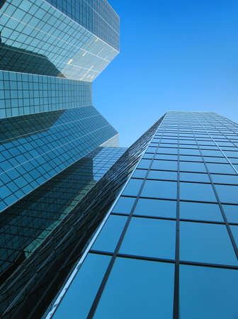 Looking up Modern building on pure blue sky Stok Fotoğraf - 1788623