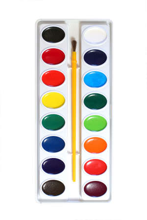 Simple watercolor paints palette and paintbrush kit photo