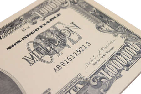 One Million Dollar bank note closeup Stock Photo