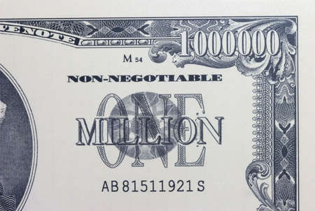 million: Close-up of a 1 million dollar bank note