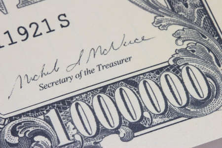 pay bills: Close-up of a 1 million dollar bank note