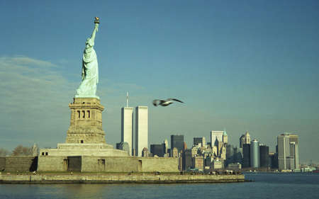 freedom tower: Statue of Liberty and Twin Towers Stock Photo
