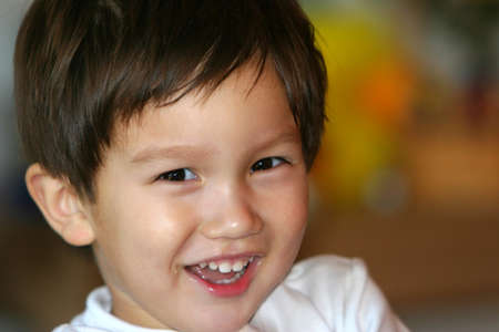 Smiling mixed Asian Caucasian 2 years old  Stok Fotoğraf