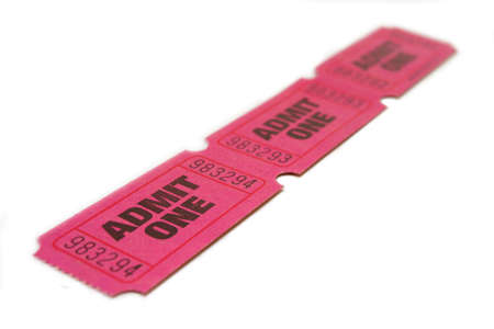 Three Admit One Ticket isolated on pure white bacground with shallow DOF photo