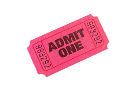 Admit One Ticket isolated on pure white bacground photo