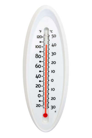 Thermometer showing over 100 degre fahrenheit isolated on pure white background photo