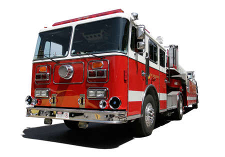 voiture de pompiers: Fire Engine isol� sur fond blanc Banque d'images
