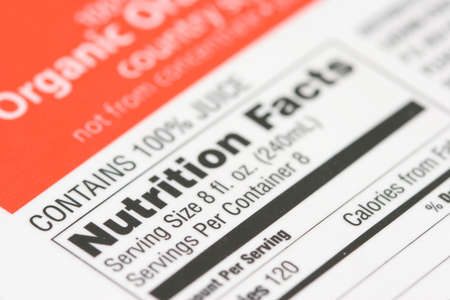 Nutrition facts from a box of Organic orange juice Stock Photo