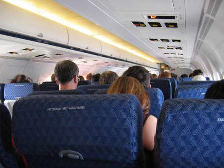 In a crowded airplane Stok Fotoğraf