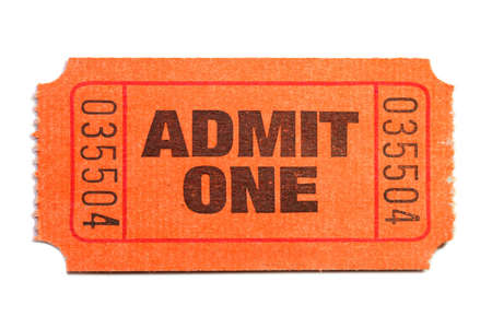 Admit One Ticket isolated on pure white background Stock Photo