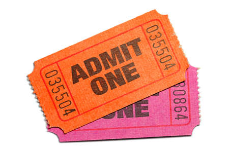 Two Admit One Ticket isolated on pure white background Фото со стока