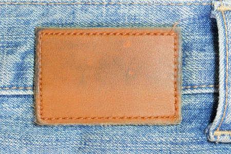 blue jeans: Blank lather label on blue jeans