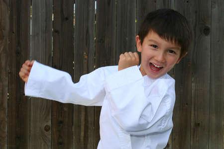 Three and half years old practicing Karate Stok Fotoğraf