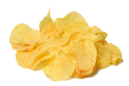 junkfood: Potatoe chips isolated on pure white background