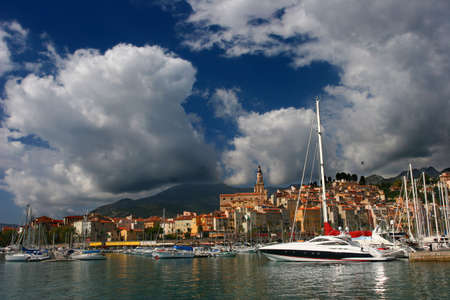 menton: Menton Harbor on the French Riviera, France
