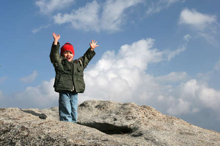 Three and half years old boy hiking
