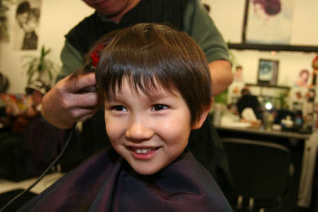 Three and half years old boy having a haircut Stock Photo - 2341217