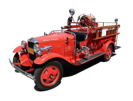 camion pompier: Vintage Fire Engine pur isolé sur fond blanc Banque d'images