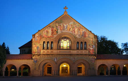 Historical Memorial Church illumintaed at night, Stanford, California photo