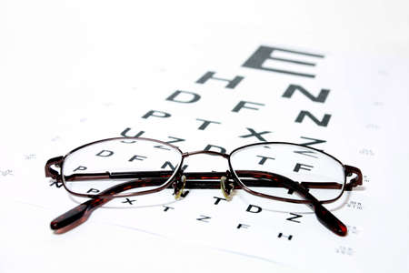 Glasses on eye Snellen Eye Chart photo