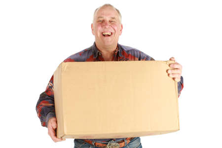 Delivery man holding big box on white background
