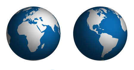 Globe and Map of the World.  Map was manually traced in illustrator from public domain world map.  No transparency. photo