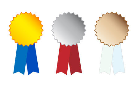 Silver And Bronze Medals on white Vector