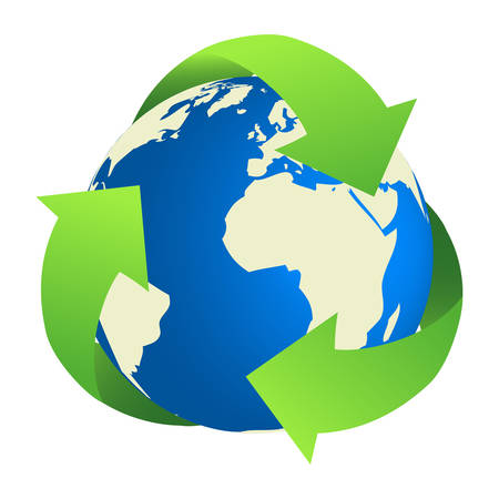 recycling: Recycling Earth. Map of the world traced from public domain map.