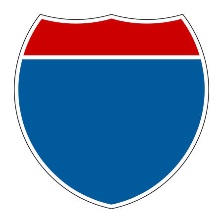 interstate: Empty Interstate Sign on white background