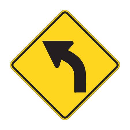 Road Sign - Left Turn Warning Vector