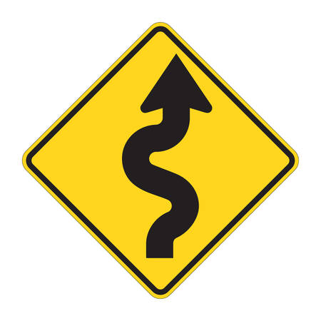 warning triangle: Road Sign - Curves ahead Warning Illustration