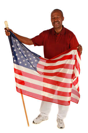 African American Man holding American Flag with pride on pure white background