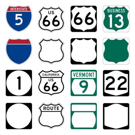 유명한 국도 66을 포함한 고속도로 및 미국 국도 표지판
