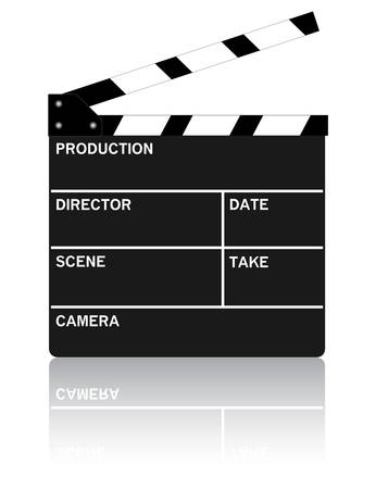 Movie clipboard on pure white with reflection. Vector illustration