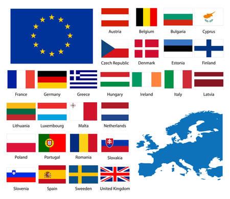 詳細なフラグとのヨーロッパの国家の地図