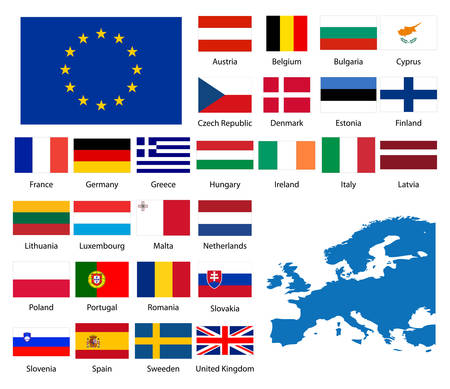Detailed flags and map of European nations Illustration
