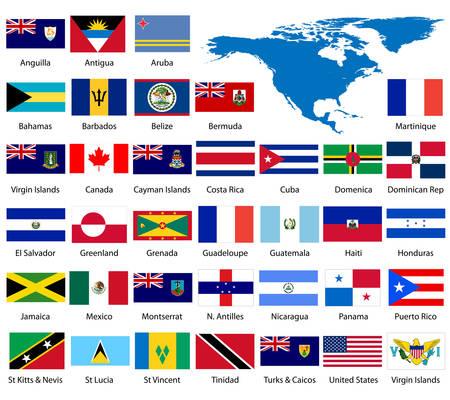bandiere del mondo: Dettagliata del Nord America e bandiere manualmente la mappa tracciata da dati di dominio pubblico.