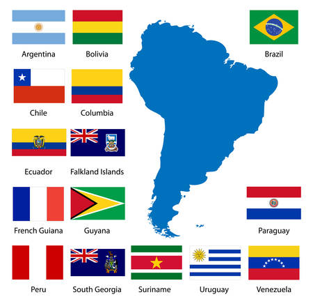 Detailed South American flags and map manually traced from public domain data. Stock Vector - 3113894