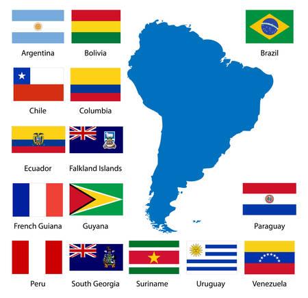 Gedetailleerde Zuid-Amerikaanse vlaggen en kaart handmatig uit het publieke domein gegevens worden opgespoord.