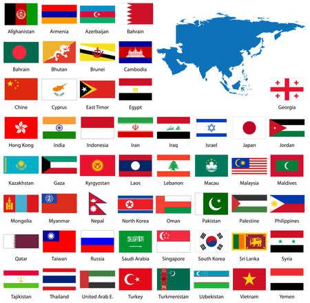 Detaillierte asiatischen Flaggen und Karte manuell, vom Public Domain anzeigen  Standard-Bild - 3113898