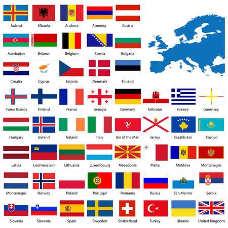 flag france: D�taill�e des pavillons europ�ens et la carte manuellement trac� de la carte du domaine public  Illustration